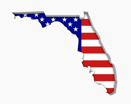 Florida FL USA Flag Stars Stripes Map 3d Illustration