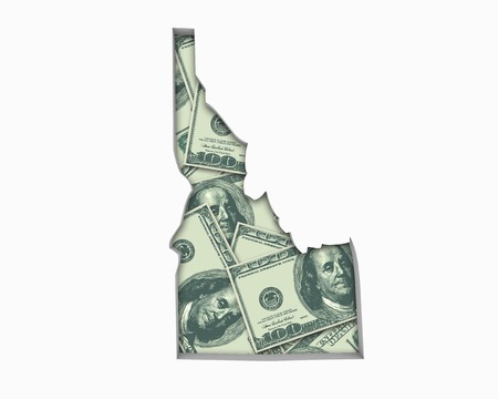 Idaho ID Money Map Cash Economy Dollars 3d Illustration