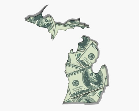Michigan MI Money Map Cash Economy Dollars 3d Illustration Stock Photo
