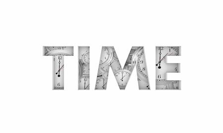 Time Word Clocks Passing Deadline Due Countdown 3d Illustration Stok Fotoğraf