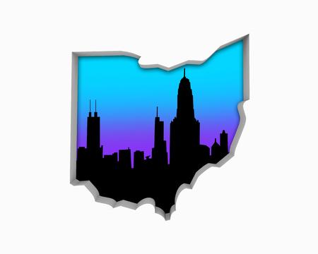 Ohio OH Skyline City Metropolitan Area Nightlife 3d Illustration Foto de archivo - 99377435