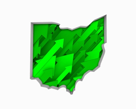 Ohio OH Arrows Map Growth Increase On Rise 3d Illustration 版權商用圖片