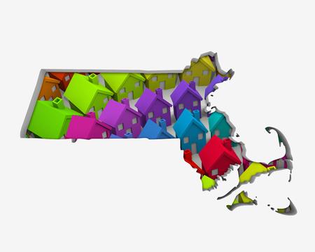Massachusetts MA Homes Homes Map New Real Estate Development 3d Illustration Stock Photo