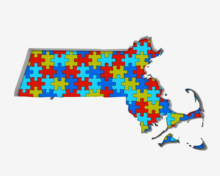 Massachusetts MA Puzzle Pieces Map Working Together 3d Illustration 写真素材