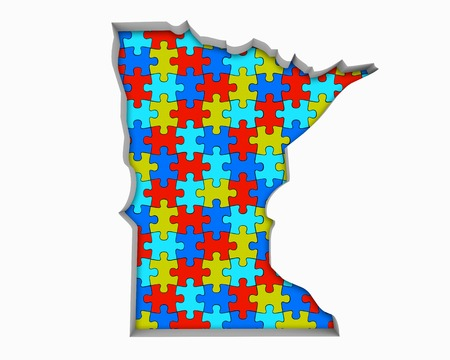 Minnesota MN Puzzle Pieces Map Working Together 3d Illustration