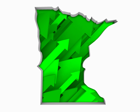Minnesota MN Arrows Map Growth Increase On Rise 3d Illustration