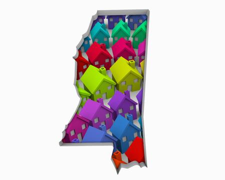 Mississippi MS Homes Homes Map New Real Estate Development 3d Illustration