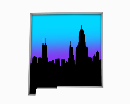 New Mexico NM Skyline City Metropolitan Area Nightlife 3d Illustration