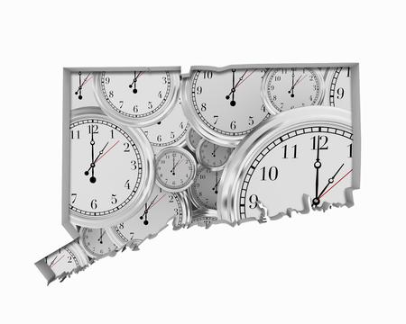 Connecticut CT Clock Time Passing Forward Future 3d Illustration