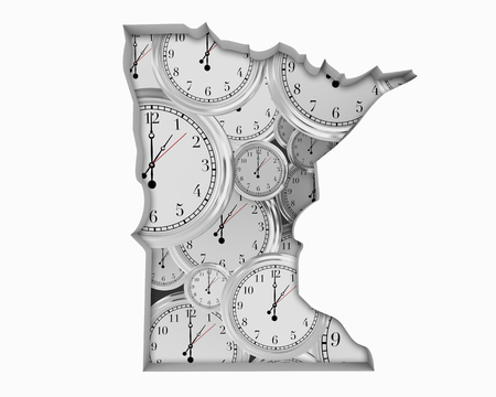Minnesota MN Clock Time Passing Forward Future 3d Illustration Banco de Imagens