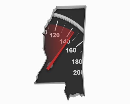 Mississippi MS Speedometer Map Fast Speed Competition Race 3d Illustration