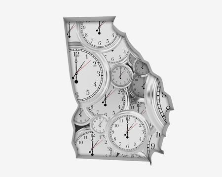 Georgia GA Clock Time Passing Forward Future 3d Illustration Reklamní fotografie