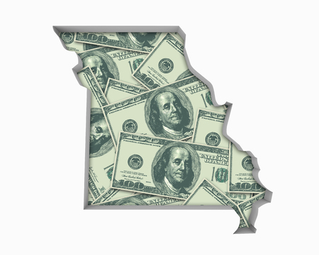 Missouri MO Money Map Cash Economy Dollars 3d Illustration Reklamní fotografie