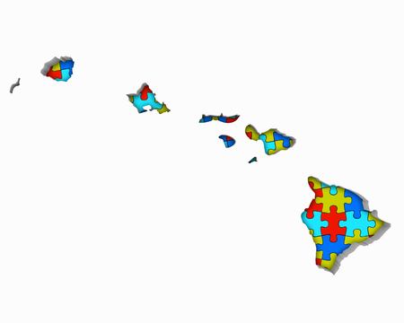 Hawaii HI Puzzle Pieces Map Working Together 3d Illustration