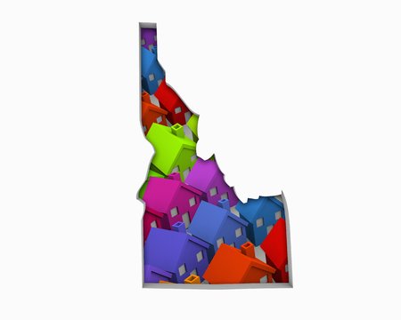 Idaho ID Homes Homes Map New Real Estate Development 3d Illustration