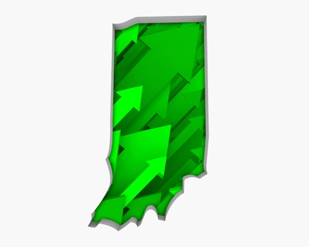 Indiana IN Arrows Map Growth Increase On Rise 3d Illustration