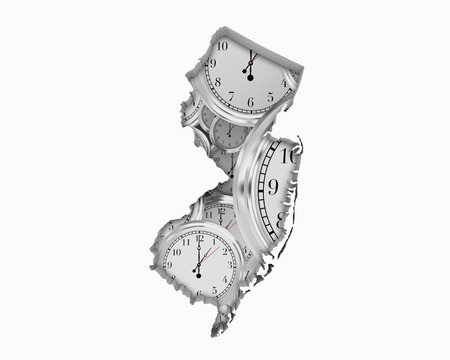 New Jersey NJ Clock Time Passing Forward Future 3d Illustration Stock Photo