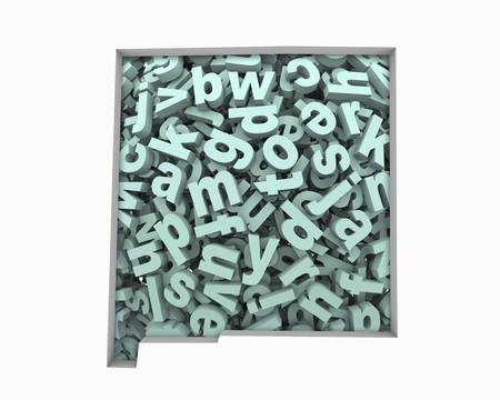 New Mexico NM Letters Map Education Reading Writing Schools 3d Illustration