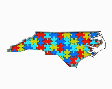 ノースカロライナNCパズルピースマップ一緒に働く3Dイラスト 写真素材 - 99487619