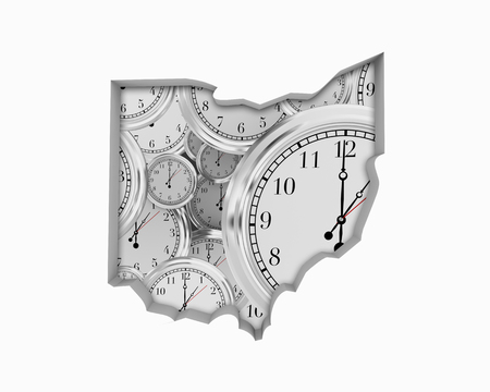 Ohio OH Clock Time Passing Forward Future 3d Illustration