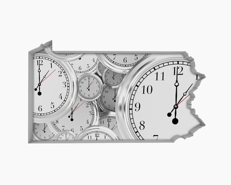 Pennsylvania PA Clock Time Passing Forward Future 3d Illustration Stockfoto