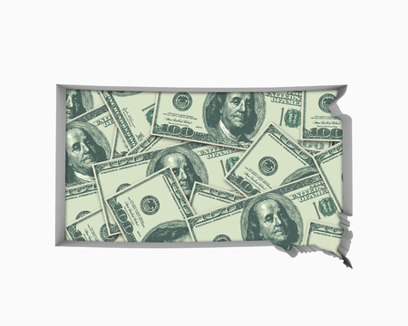 South Dakota SD Money Map Cash Economy Dollars 3d Illustration