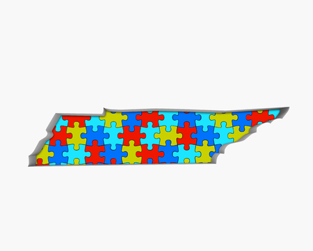 Tennessee TN Puzzle Pieces Map Working Together 3d Illustration 写真素材 - 99487632