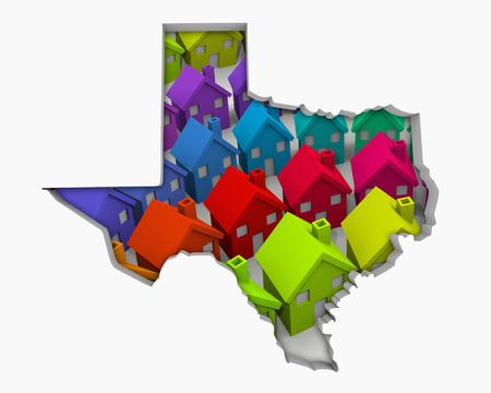 Texas TX Homes Homes Map New Real Estate Development 3d Illustration