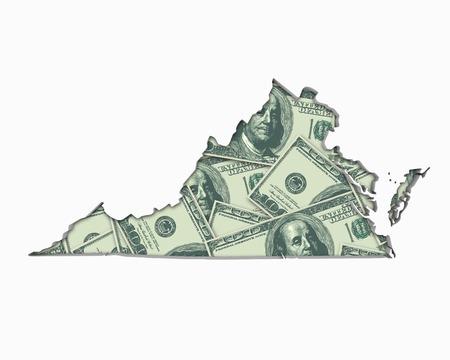 Virginia VA Money Map Cash Economy Dollars 3d Illustration