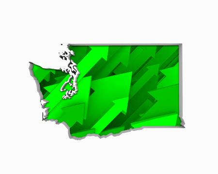Washington WA Arrows Map Growth Increase On Rise 3d Illustration