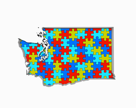 Washington WA Puzzle Pieces Map Working Together 3d Illustration 写真素材