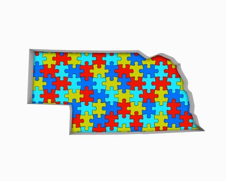 Nebraska ne puzzle puzzle puzzle carte travaillant ensemble 3d illustration Banque d'images - 99556389