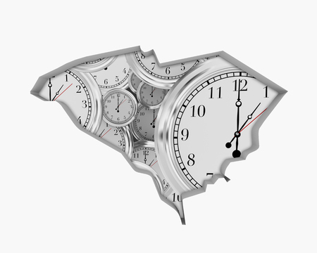 South Carolina SC Clock Time Passing Forward Future 3d Illustration