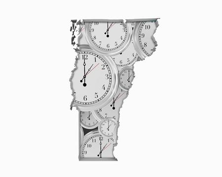 Vermont VT Clock Time Passing Forward Future 3d Illustration