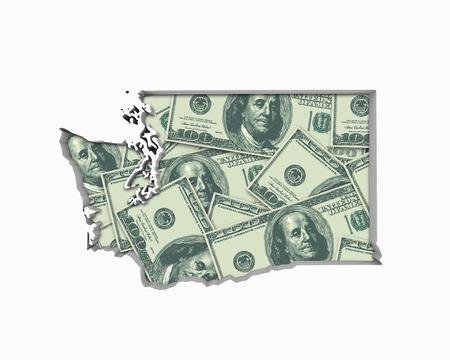 Washington WA Money Map Cash Economy Dollars 3d Illustration Reklamní fotografie