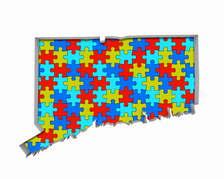 Connecticut CT Puzzle Pieces Map Working Together 3d Illustration Stock Photo