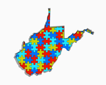West Virginia WV Puzzle Pieces Map Working Together 3d Illustration