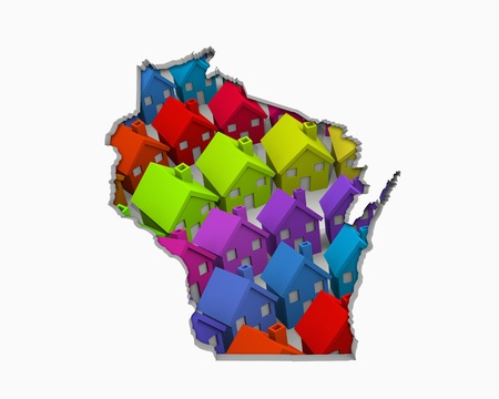 Wisconsin WI Homes Homes Map New Real Estate Development 3d Illustration Zdjęcie Seryjne