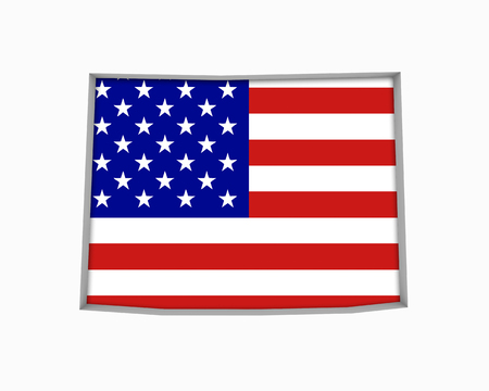 Wyoming WY USA Flag Stars Stripes Map 3d Illustration