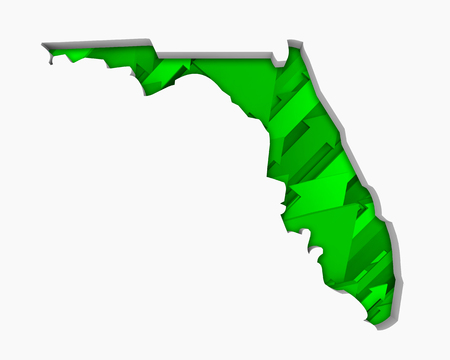 Florida FL Arrows Map Growth Increase On Rise 3d Illustration