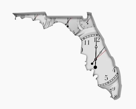 Florida FL Clock Time Passing Forward Future 3d Illustration