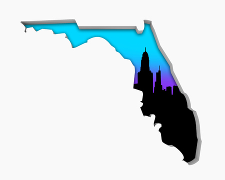 Florida FL Skyline City Metropolitan Area Nightlife 3d Illustration