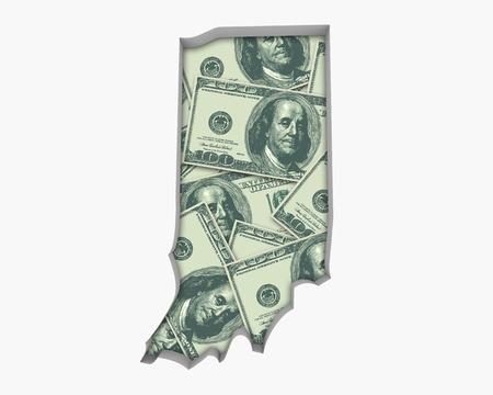 Indiana IN Money Map Cash Economy Dollars 3d Illustration