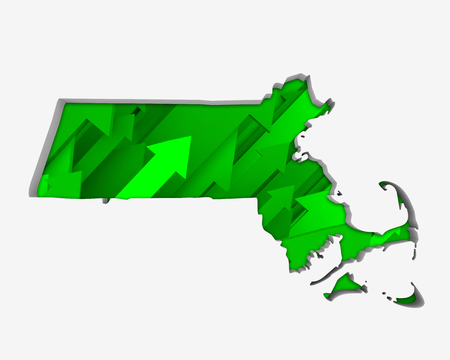 Massachusetts MA Arrows Map Growth Increase On Rise 3d Illustration