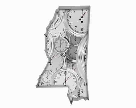 Mississippi MS Clock Time Passing Forward Future 3d Illustration