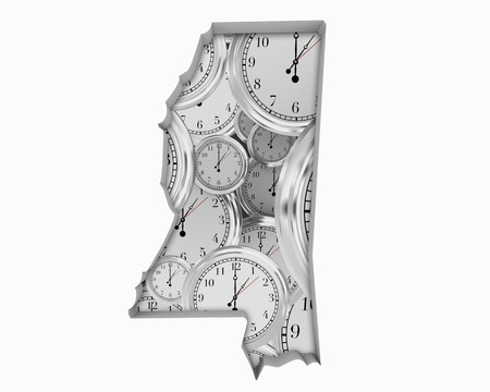 Mississippi MS Clock Time Passing Forward Future 3d Illustration