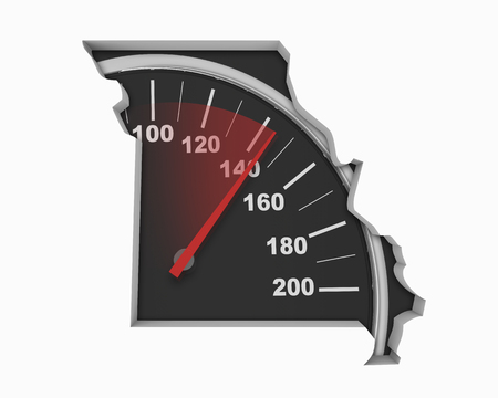 Missouri MO Speedometer Map Fast Speed Competition Race 3d Illustration