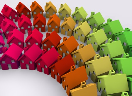 Colorful Houses Neighborhood Community Homes 3d Illustration Imagens