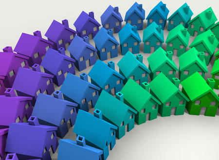 Homes Houses Colorful Diverse Community Background 3d Illustration Imagens