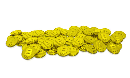 Bitcoin Pile Cryptocurrency Coins Background 3d Illustration